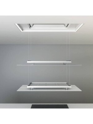 Hota la nivelul plafonului Pando E-237, latime 130 cm, V.1130, clasa A+, sticla sau alb