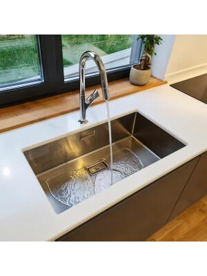 Chiuveta bucatarie inox CookingAid Box Lux 74 cu ventil scurgere dreptunghiular si accesorii montaj
