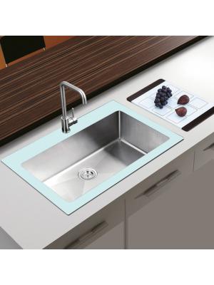 Chiuveta bucatarie inox CookingAid TEMPERED GLASS WHITE cu dozator detergent + accesorii montaj