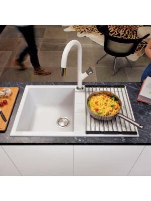 Chiuveta bucatarie granit CookingAid Amanda AM7810 Alba / Bianco Latte reversibila stanga/dreapta cu picurator + accesorii montaj